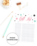 Instant download gift list for girl shower by LittleSizzle