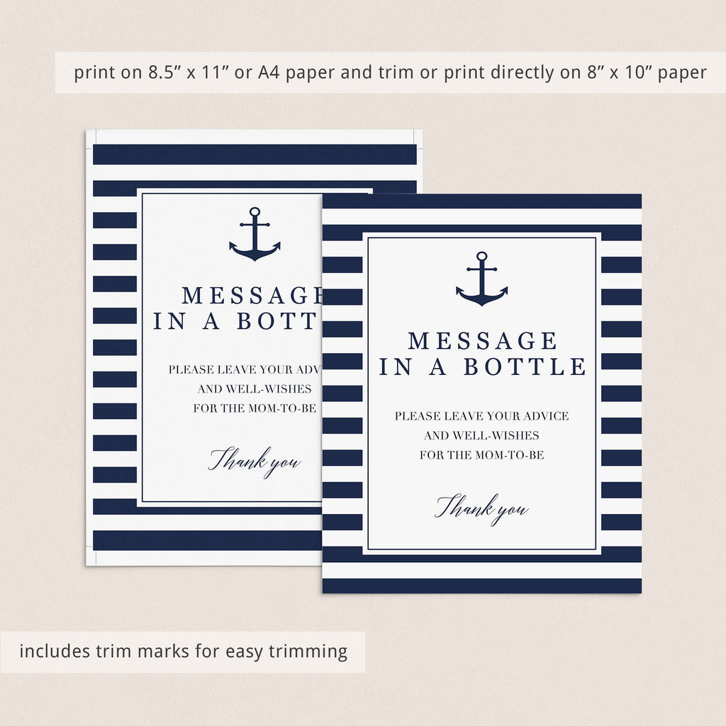 Instant download message in a bottle table sign with navy stripes by LittleSizzle