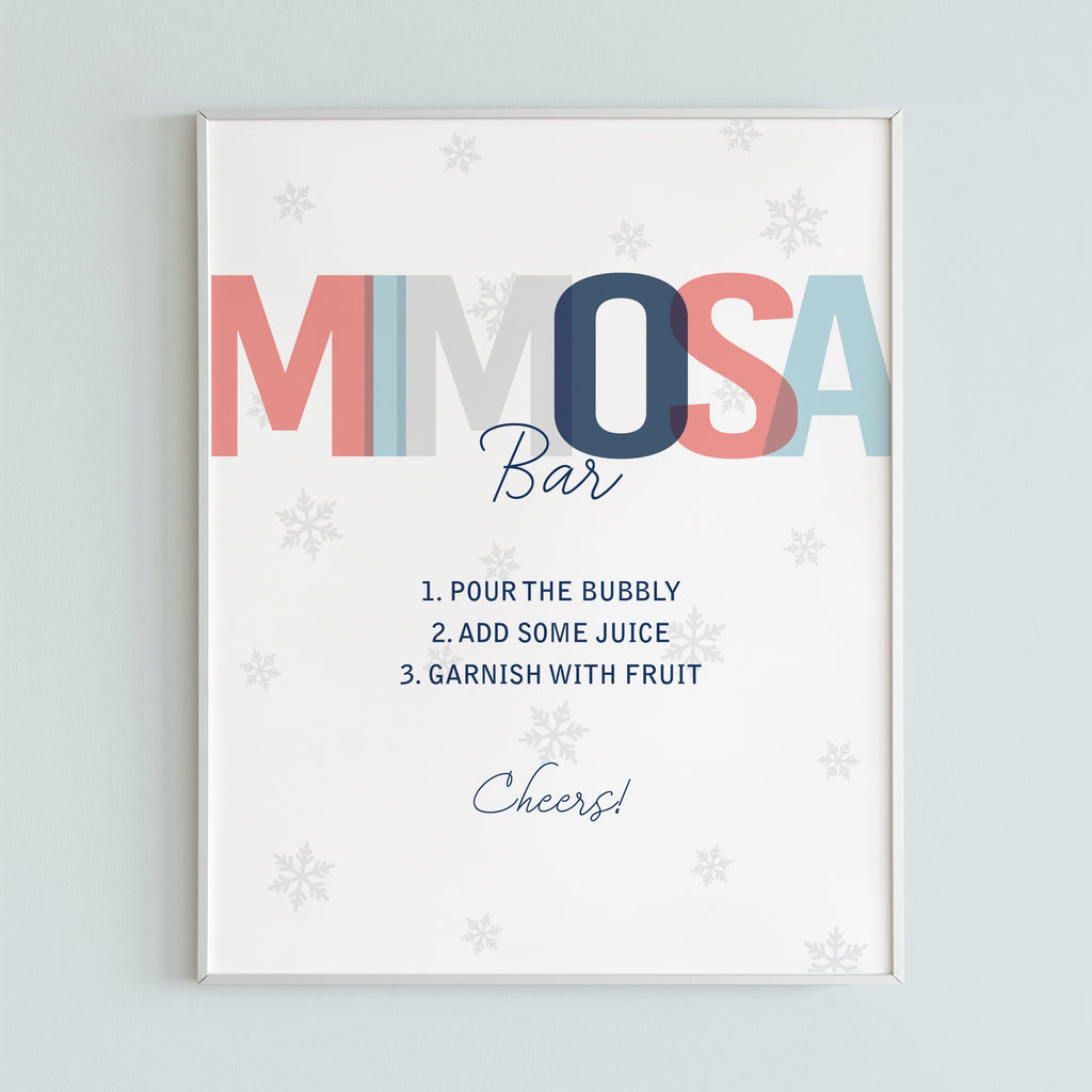 Winter shower mimosa bar table sign printable by LittleSizzle
