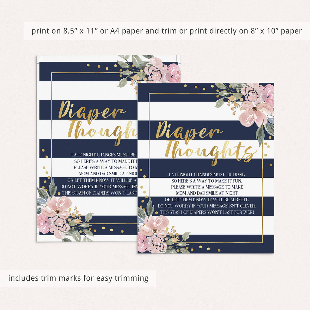 Printable Diaper Thoughts Baby Shower Activity Navy, Pink and Gold