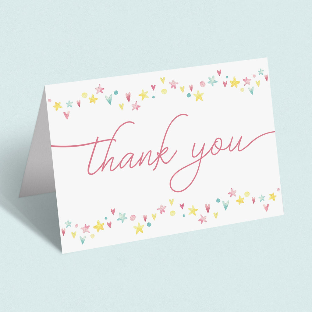 Instant download sweet thank you card pink and yellow by LittleSizzle