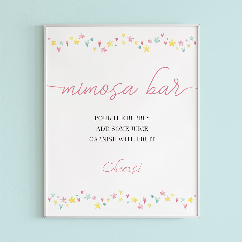 Printable mimosa sign for pink shower by LittleSizzle