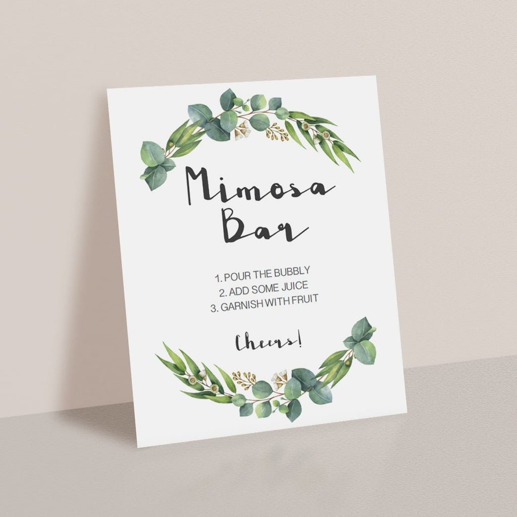 Mimosa sign for greenery baby shower party by LittleSizzle