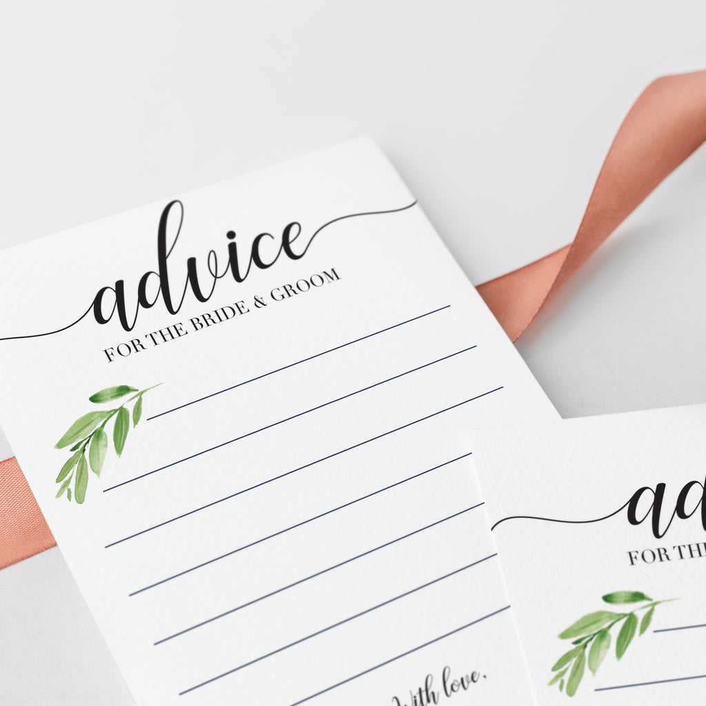 Wedding advice cards instant download by LittleSizzle