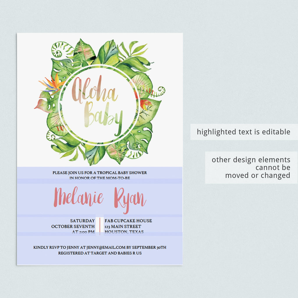 Tropical Girl Baby Shower Invitation Template