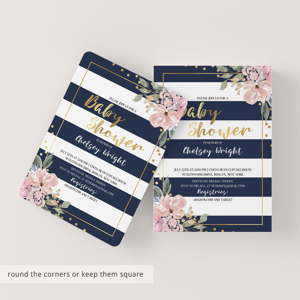 Pink, Gold and Navy Baby Shower Invitation - Florals, Confetti and Stripes