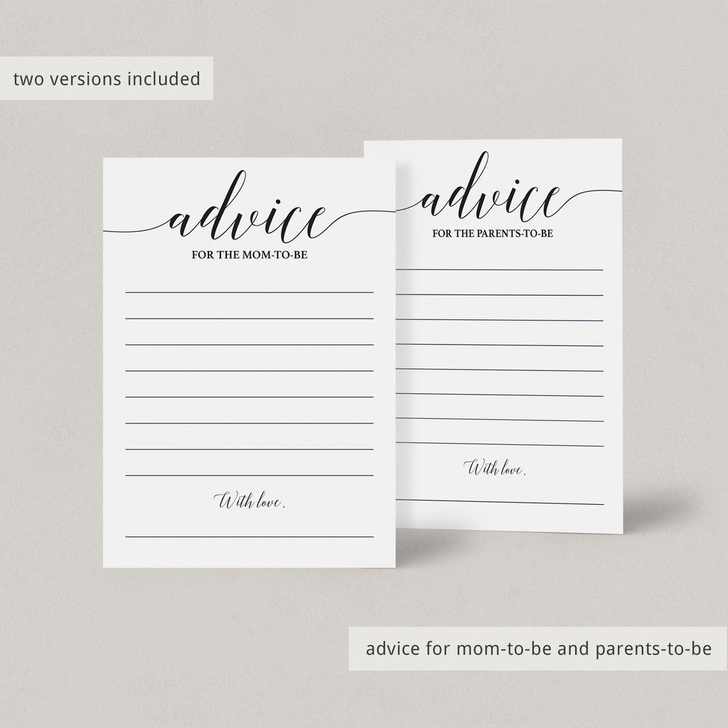 Advice cards black and white printable by LittleSizzle
