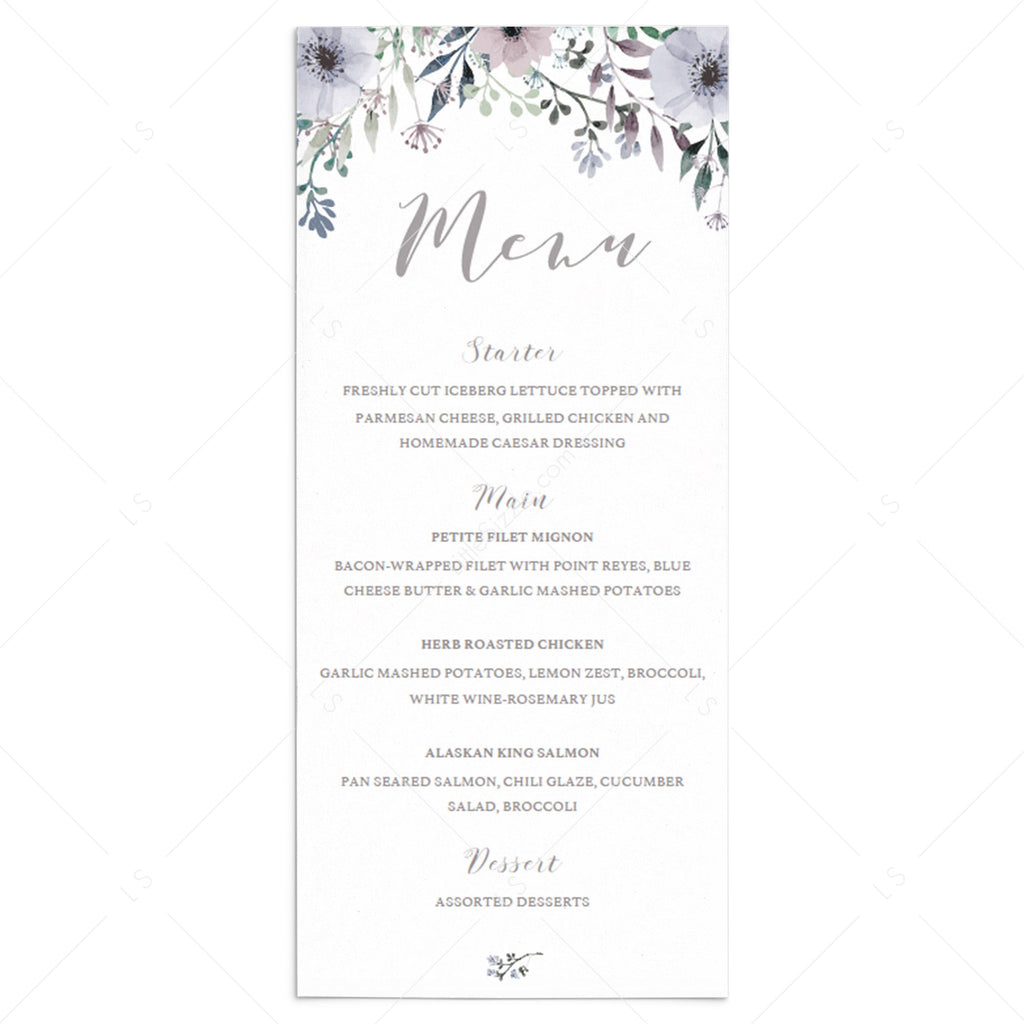 Watercolor floral menu card template by LittleSizzle