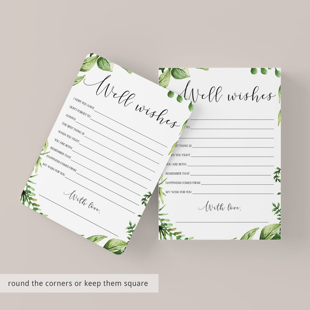 Greenery Well Wishes for the Bride and Groom Card Printable
