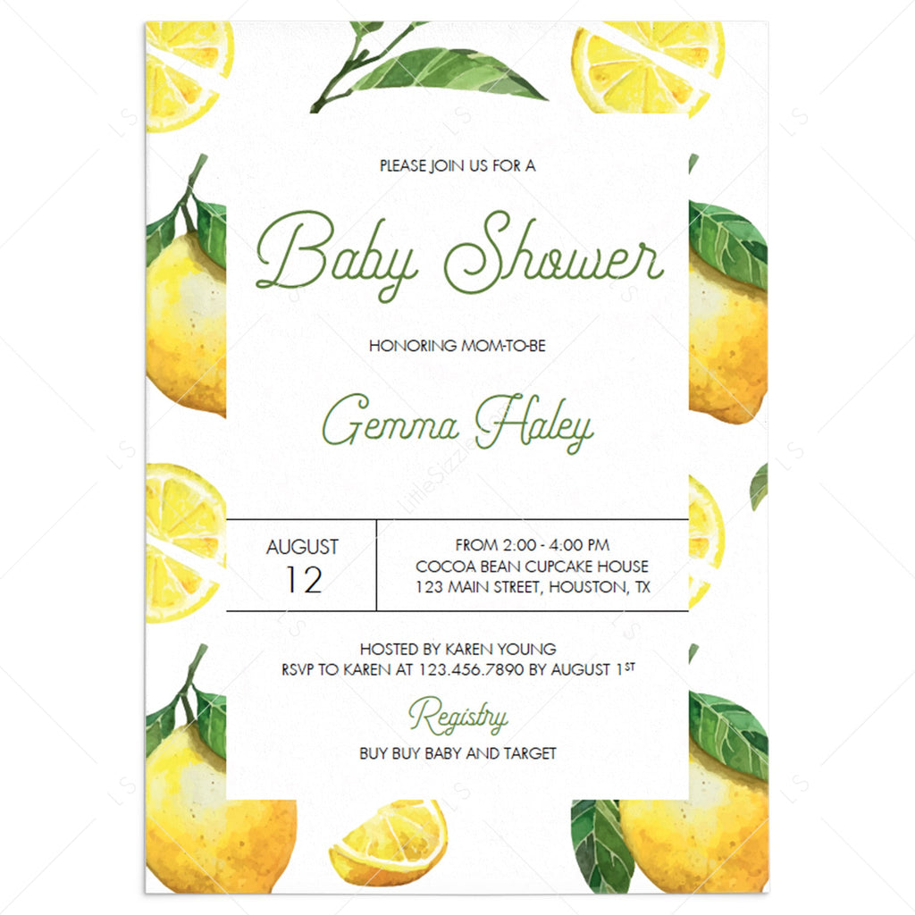 Lemon baby shower party invitation template by LittleSizzle