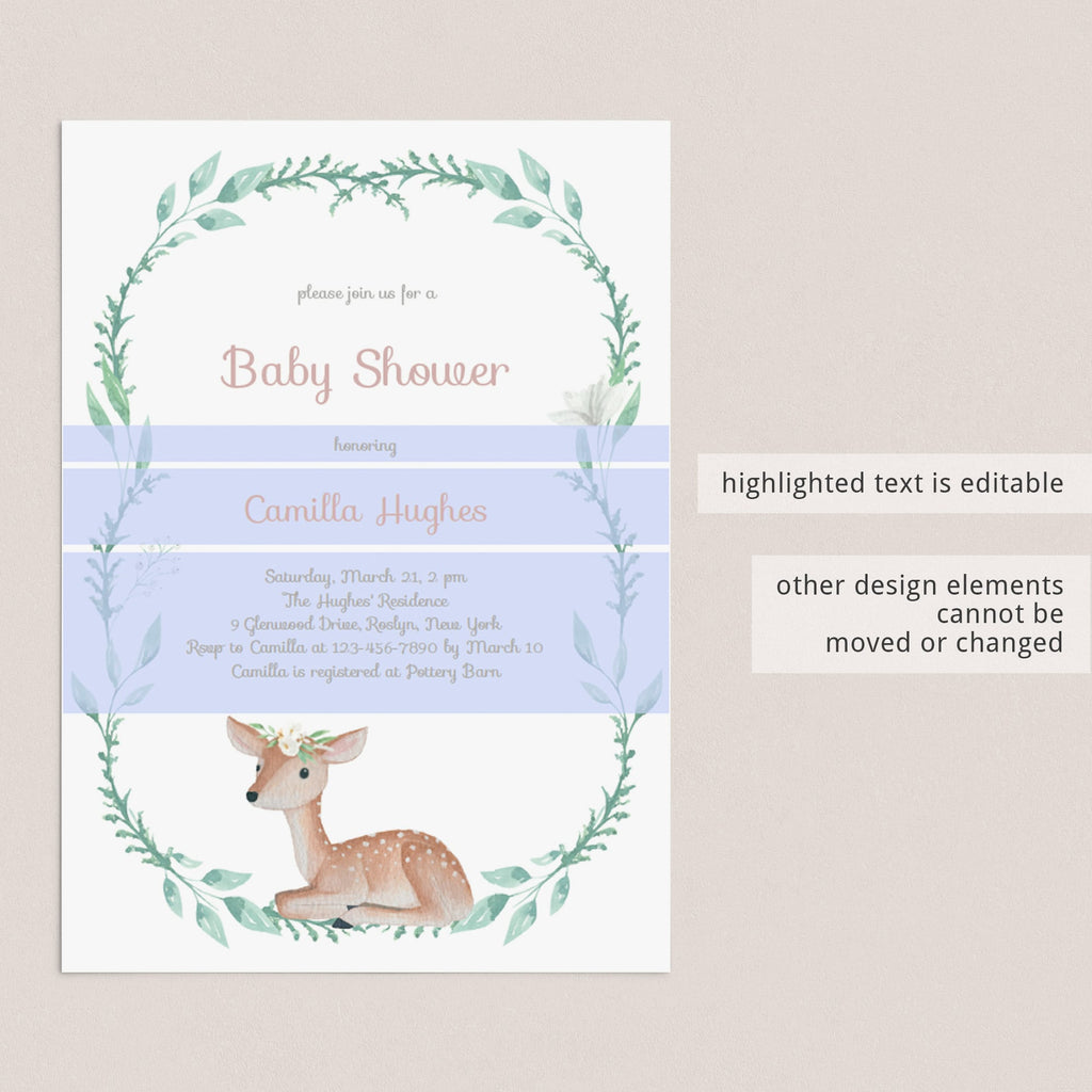 Editable boho chic invitation for baby shower party by LittleSizzle