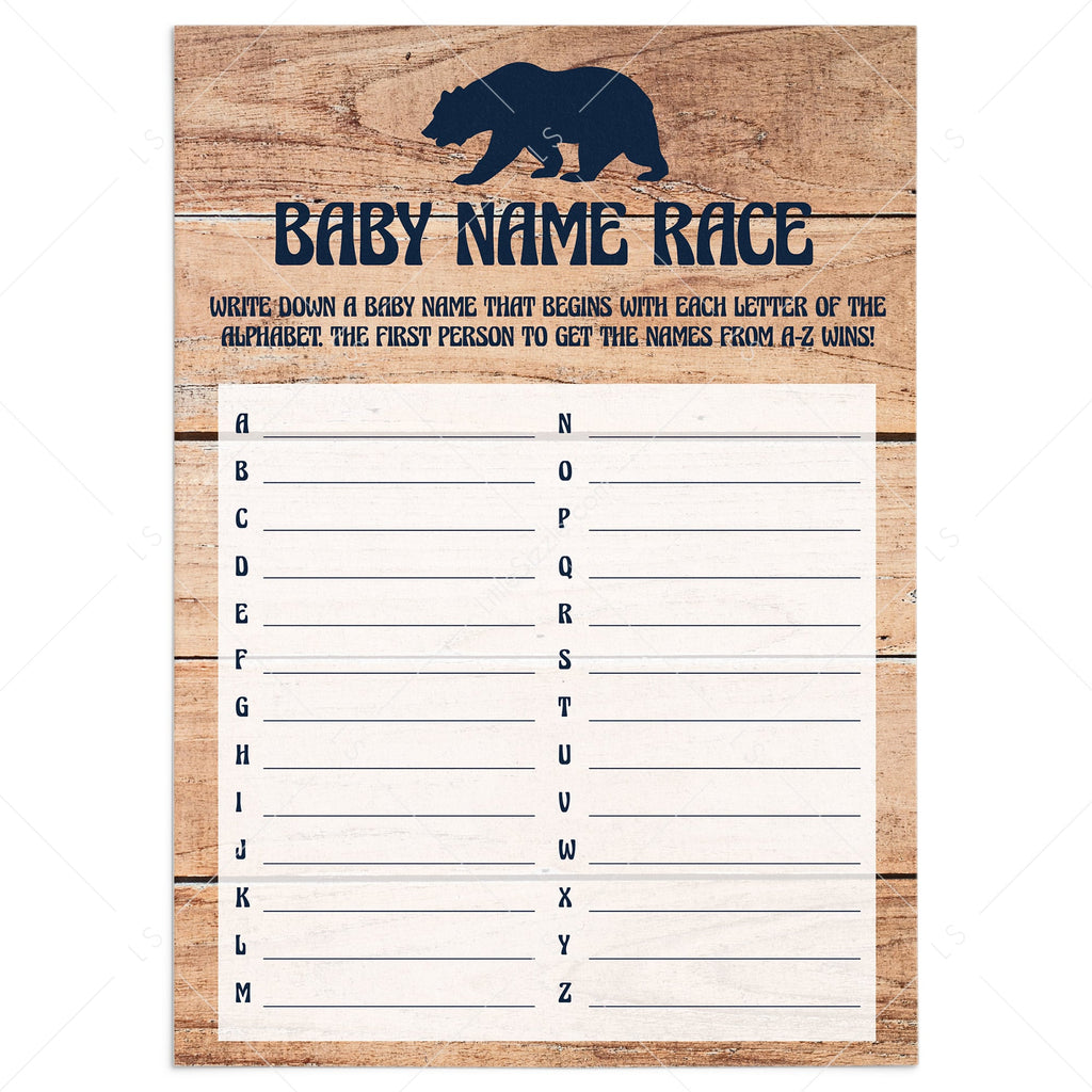 Rustic baby shower name game with little cub by LittleSizzle