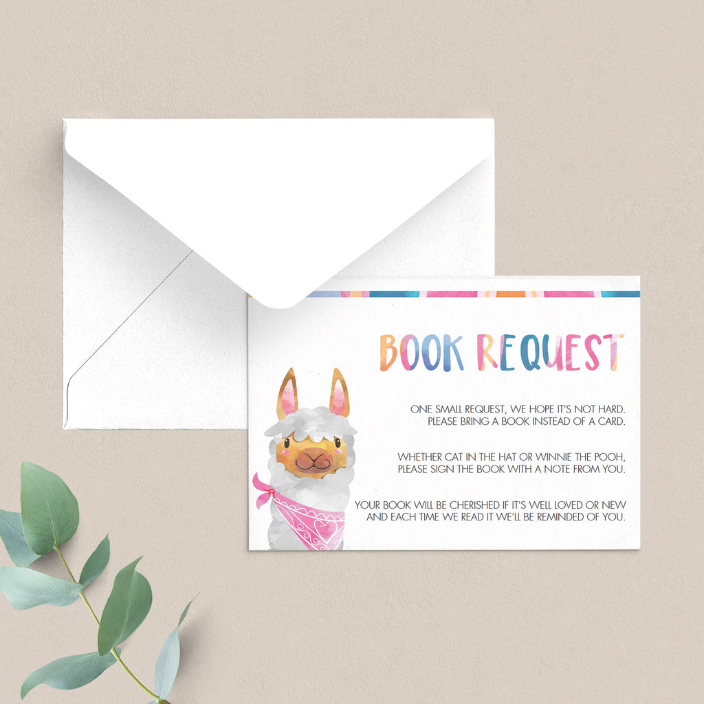 Book request baby shower cards llama theme by LittleSizzle