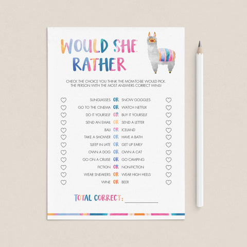 Llama baby shower games printable would she rather by LittleSizzle
