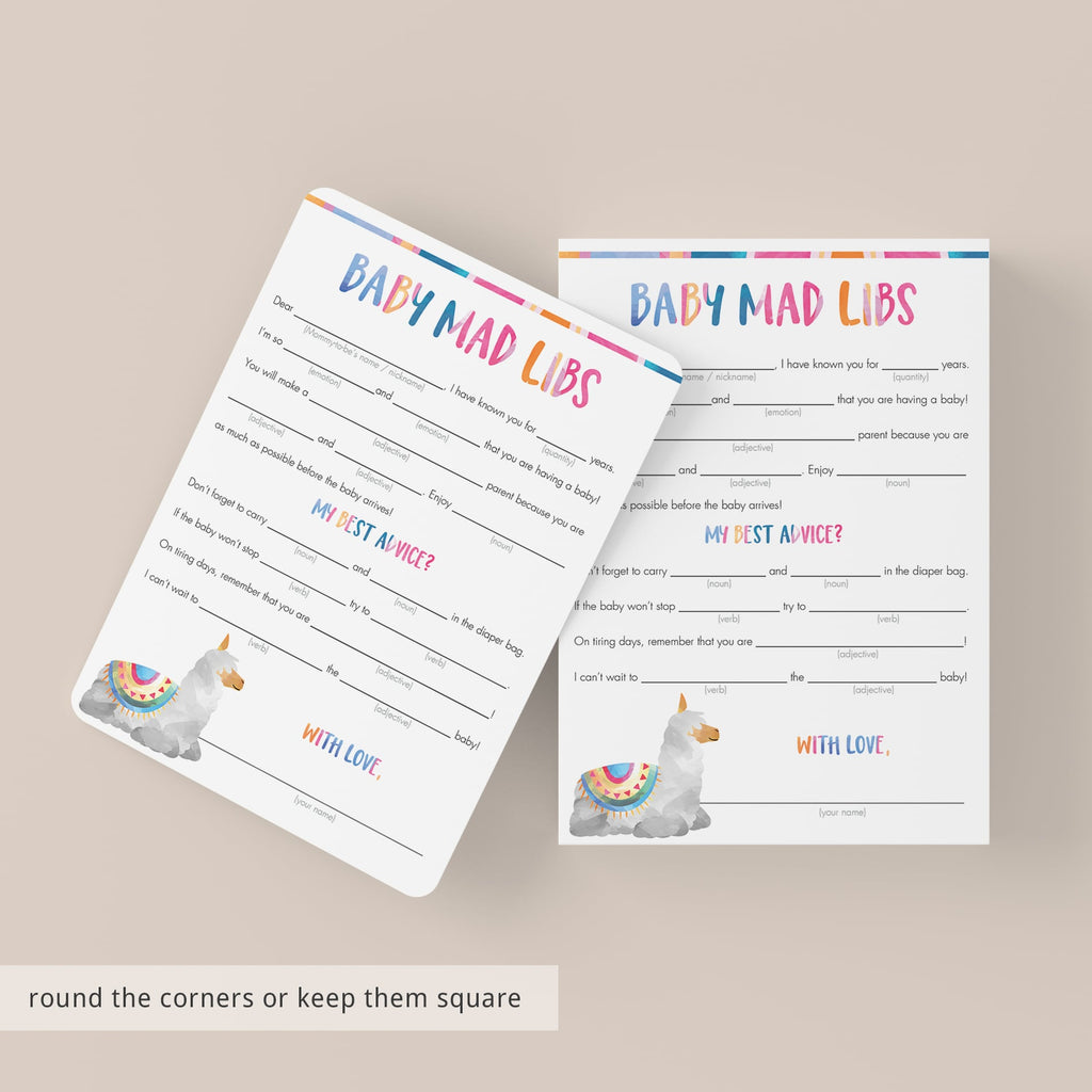 Funny baby mad libs cards printable by LittleSizzle