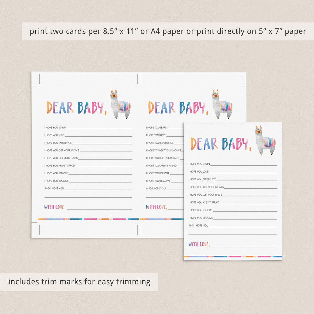 Llama Baby Shower Games Dear Baby Printable