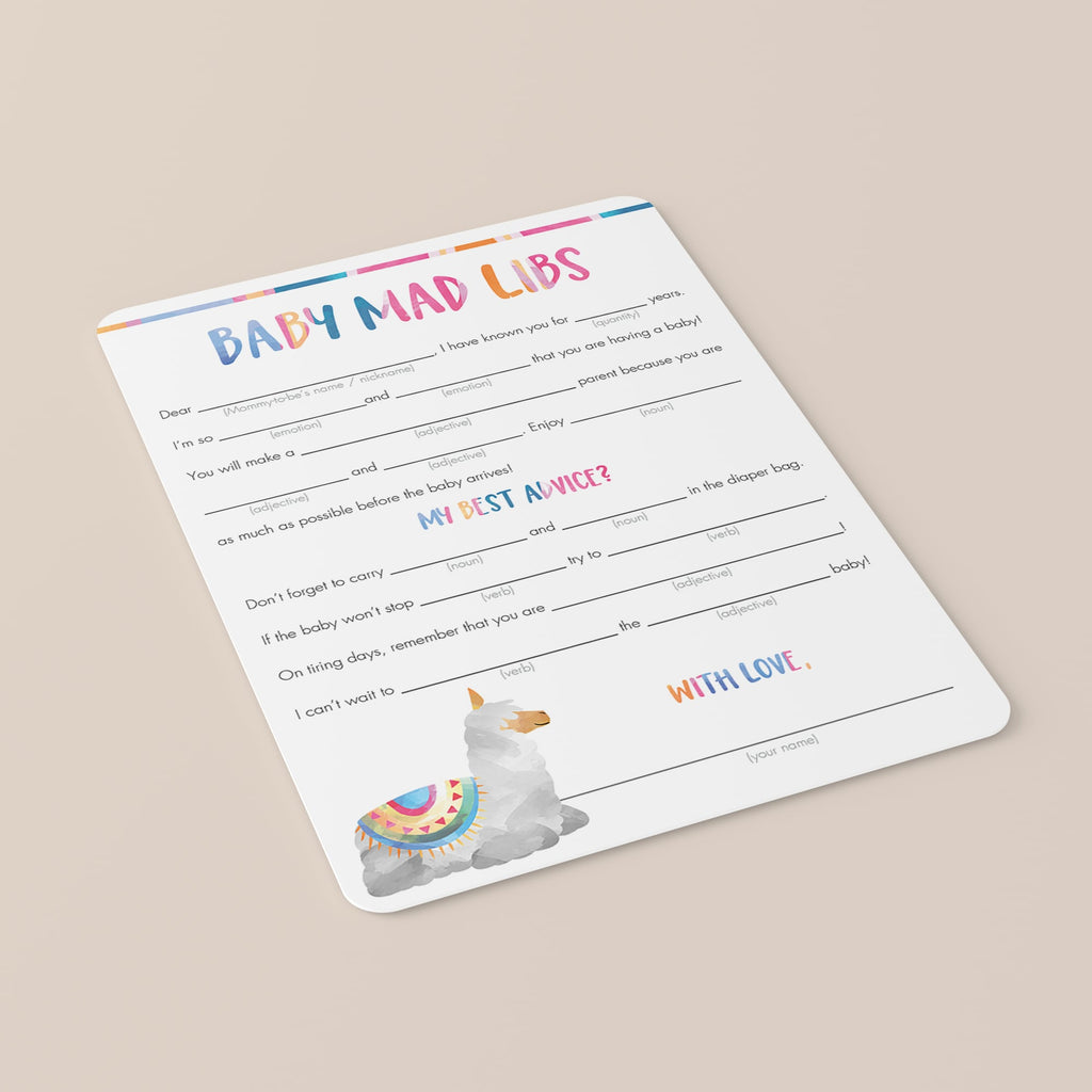 Llama mama baby shower mad libs game by LittleSizzle