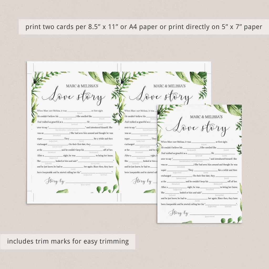 love story madlibs bridal shower games