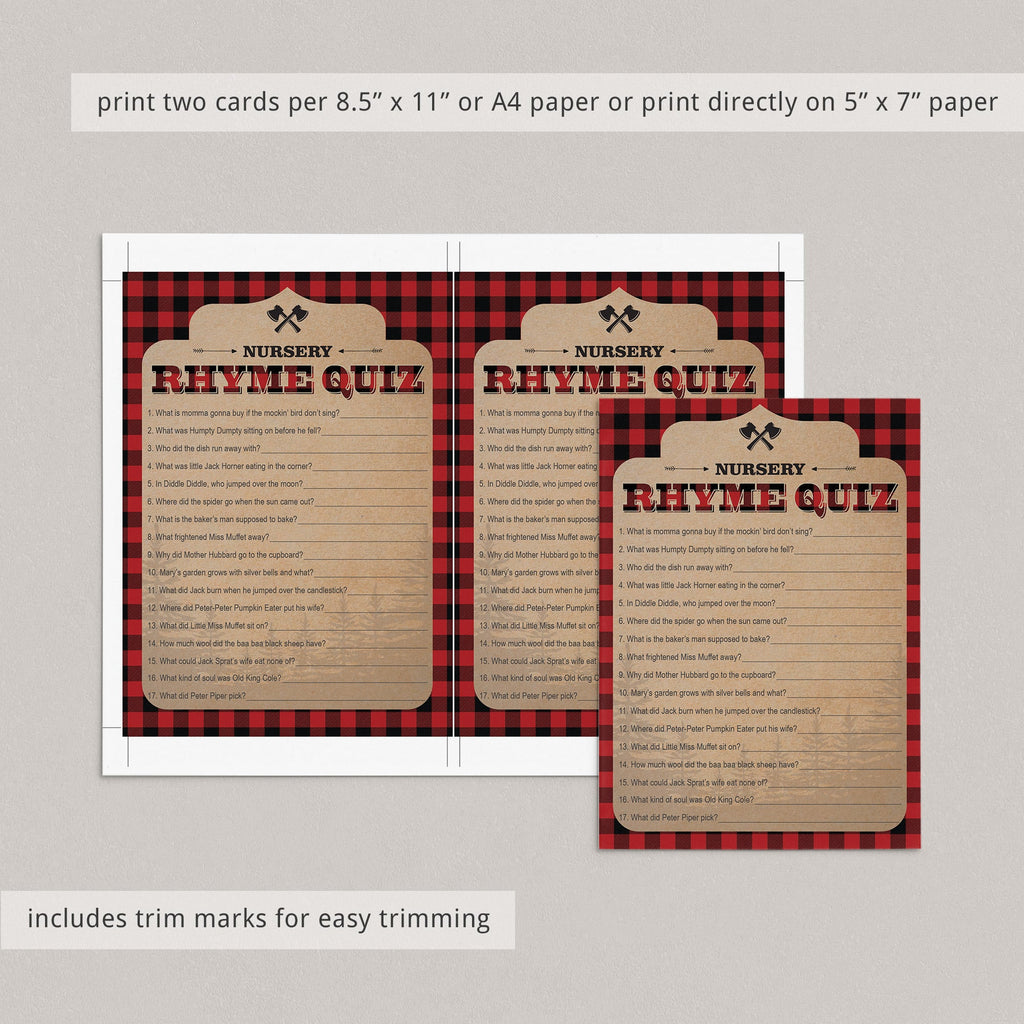 Nursery rhyme game for lumberjack baby shower by LittleSIzzle
