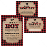 Rustic Baby Shower Invitation Kit Templates with Buffalo Plaid