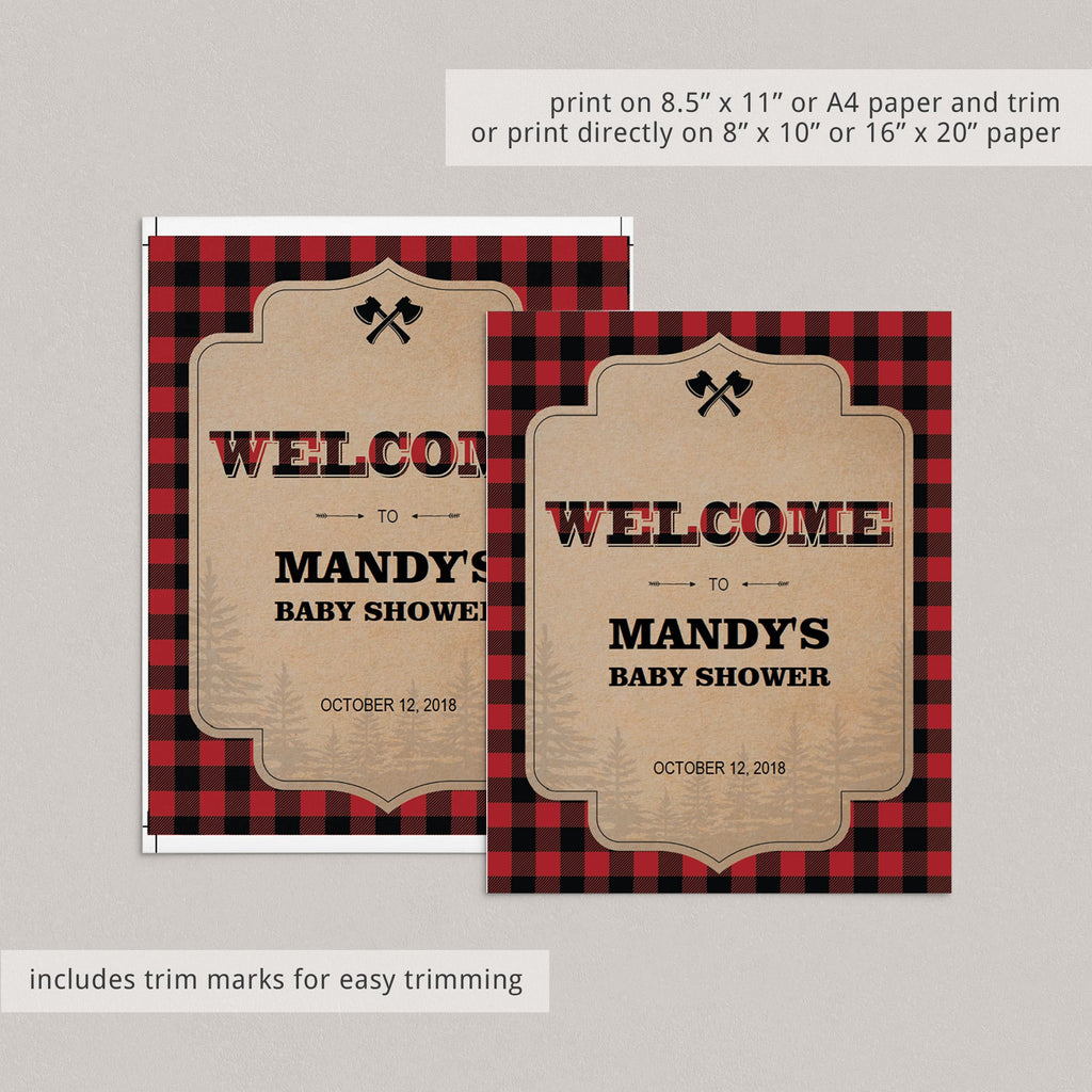Woods party welcome sign printable by LittleSizzle