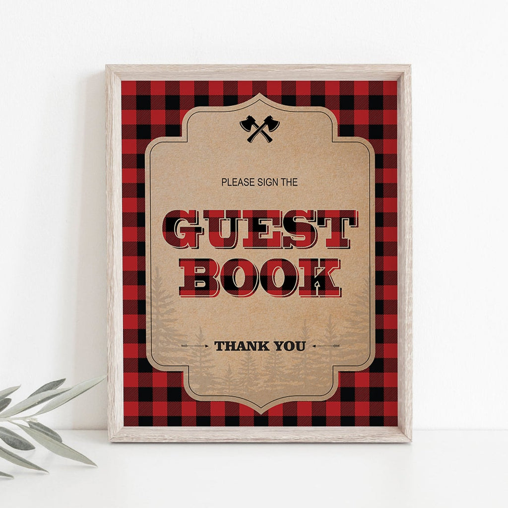 Rustic party decorations guest book station table sign by LittleSizzle