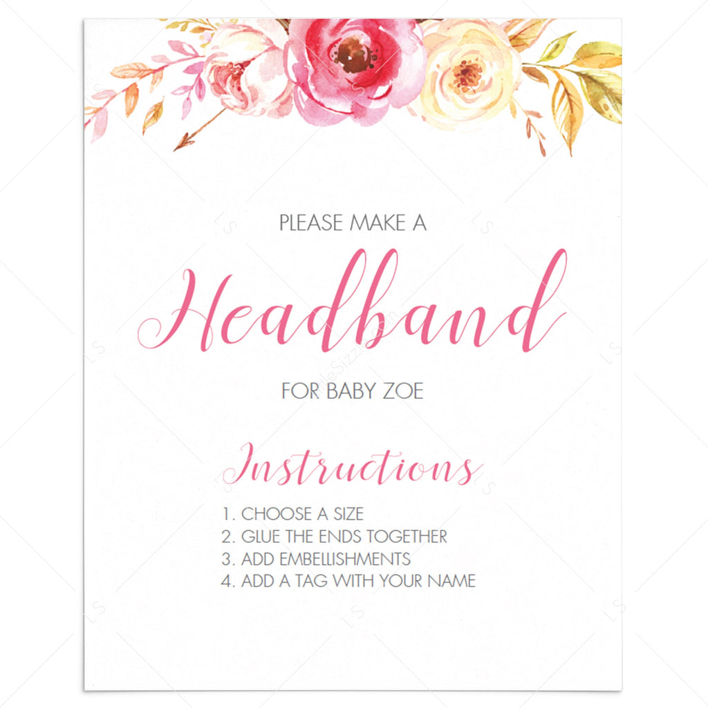 Headband for baby girl baby shower game floral by LittleSizzle