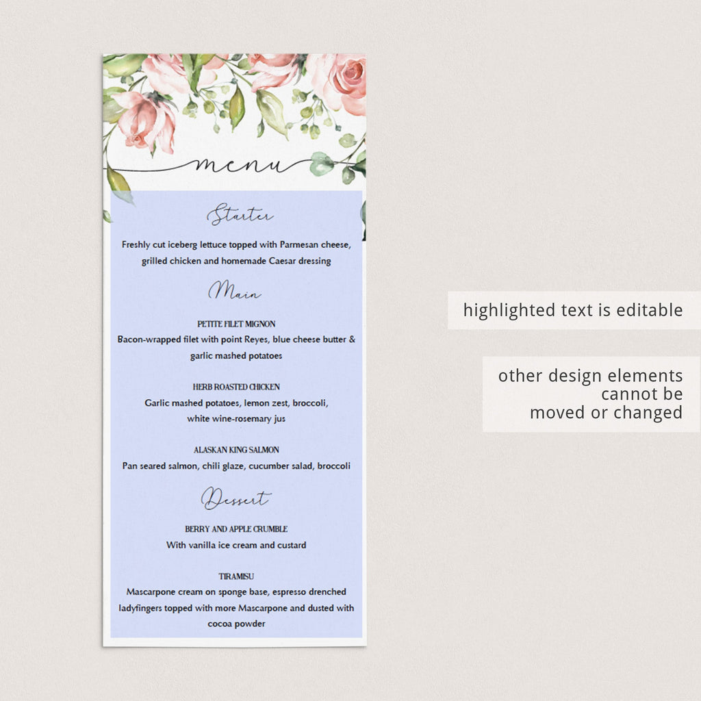 Editable menu card for floral themed party by LittleSizzle