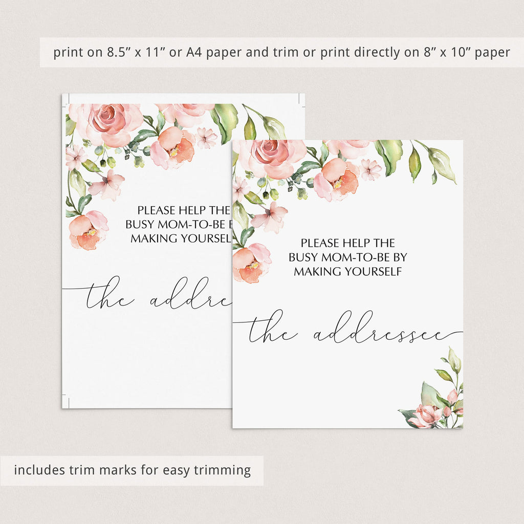 Baby shower addressee card station sign printable by LittleSizzle