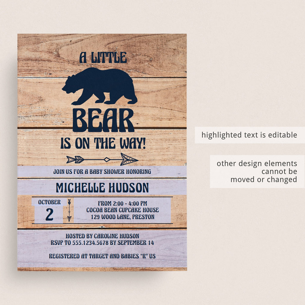 Mama bear baby shower invite template editable PDF by LittleSizzle