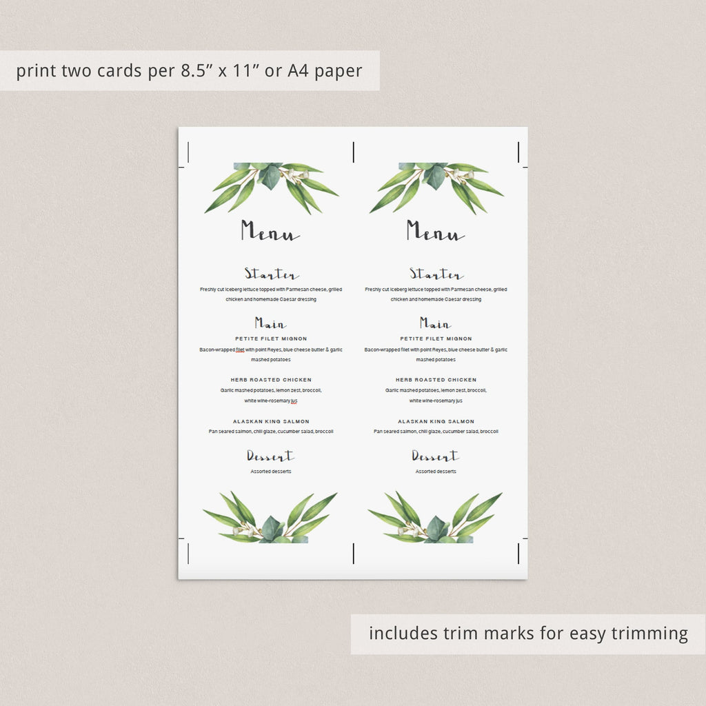 Menu card template for green outdoor shower by LittleSizzle