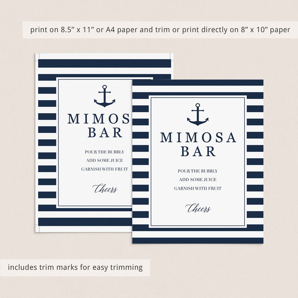 nautical wedding favors signs instant download