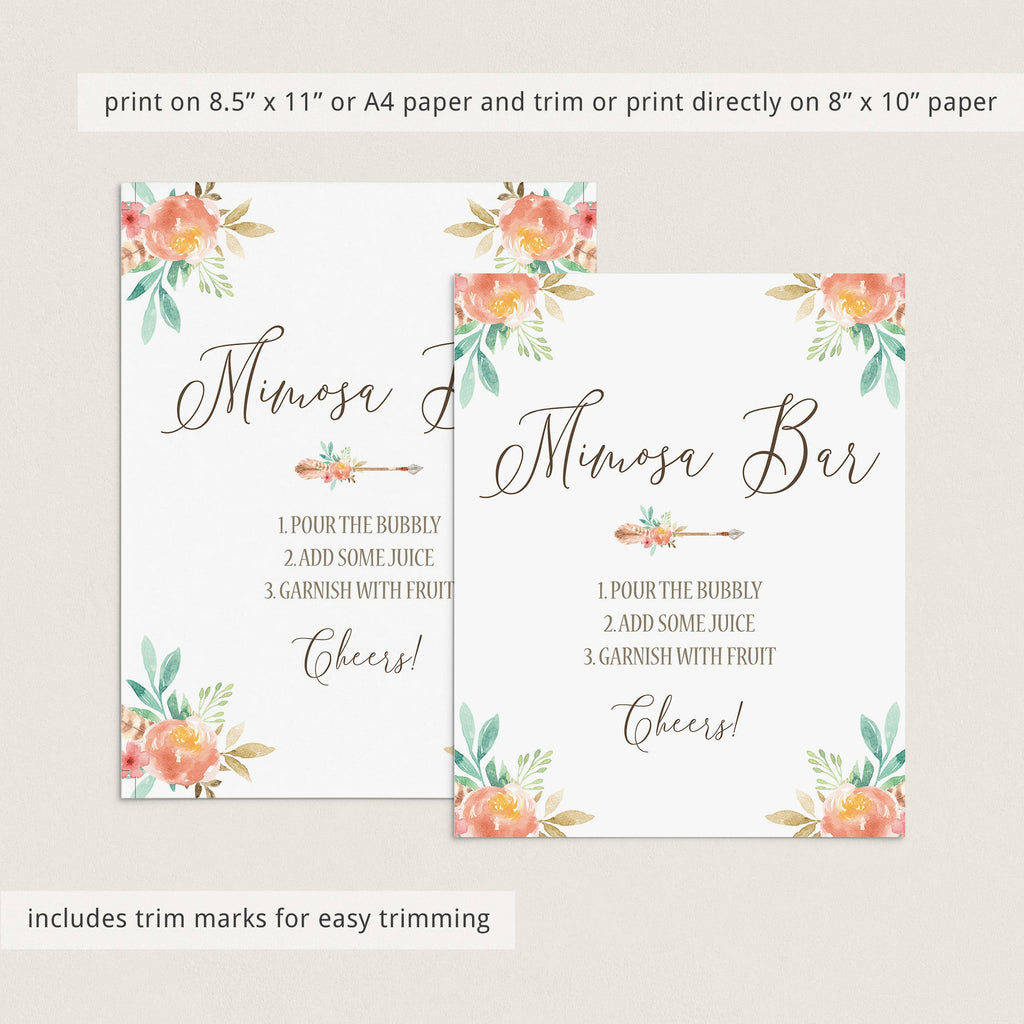 Pink Floral Mimosa Bar Sign Download