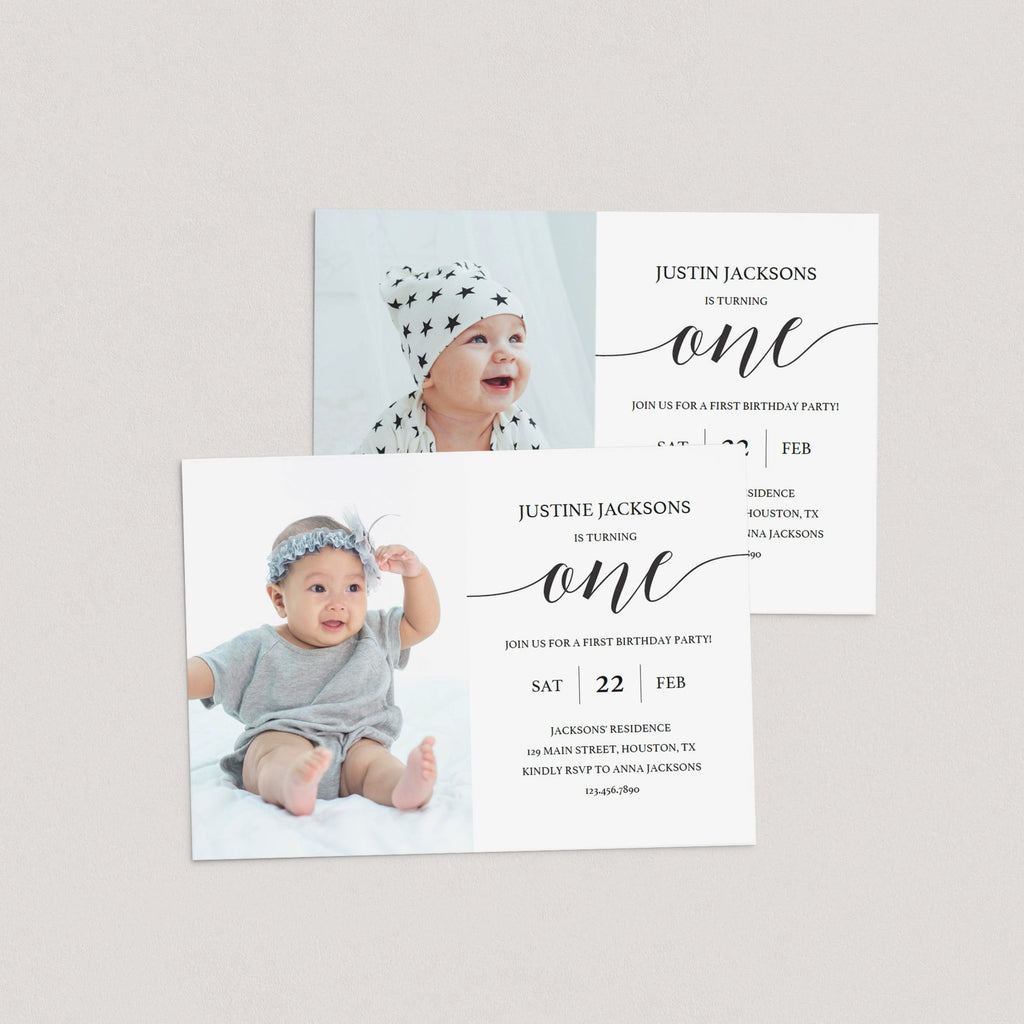 Printable first birthday invitation with photo by LittleSizzle