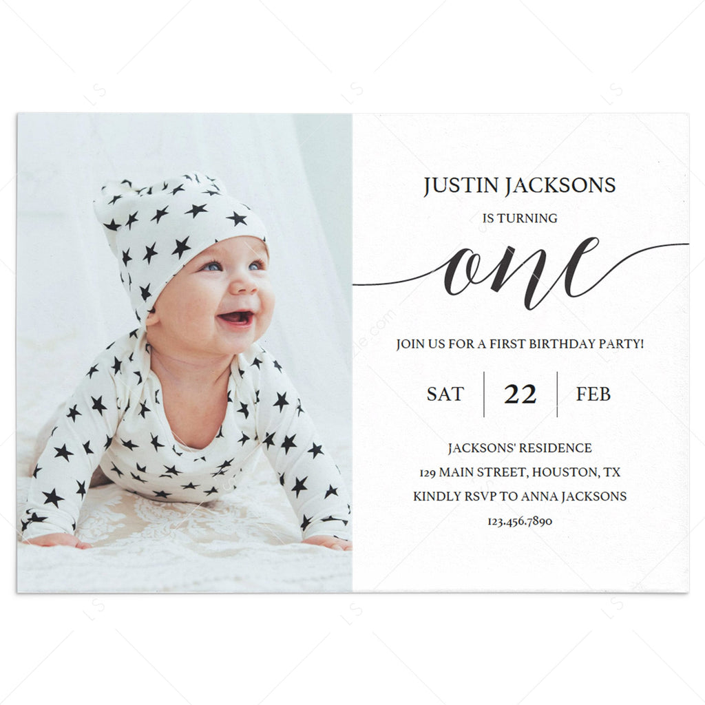 Minimal First Birthday Invitation Template with Photo by LittleSizzle
