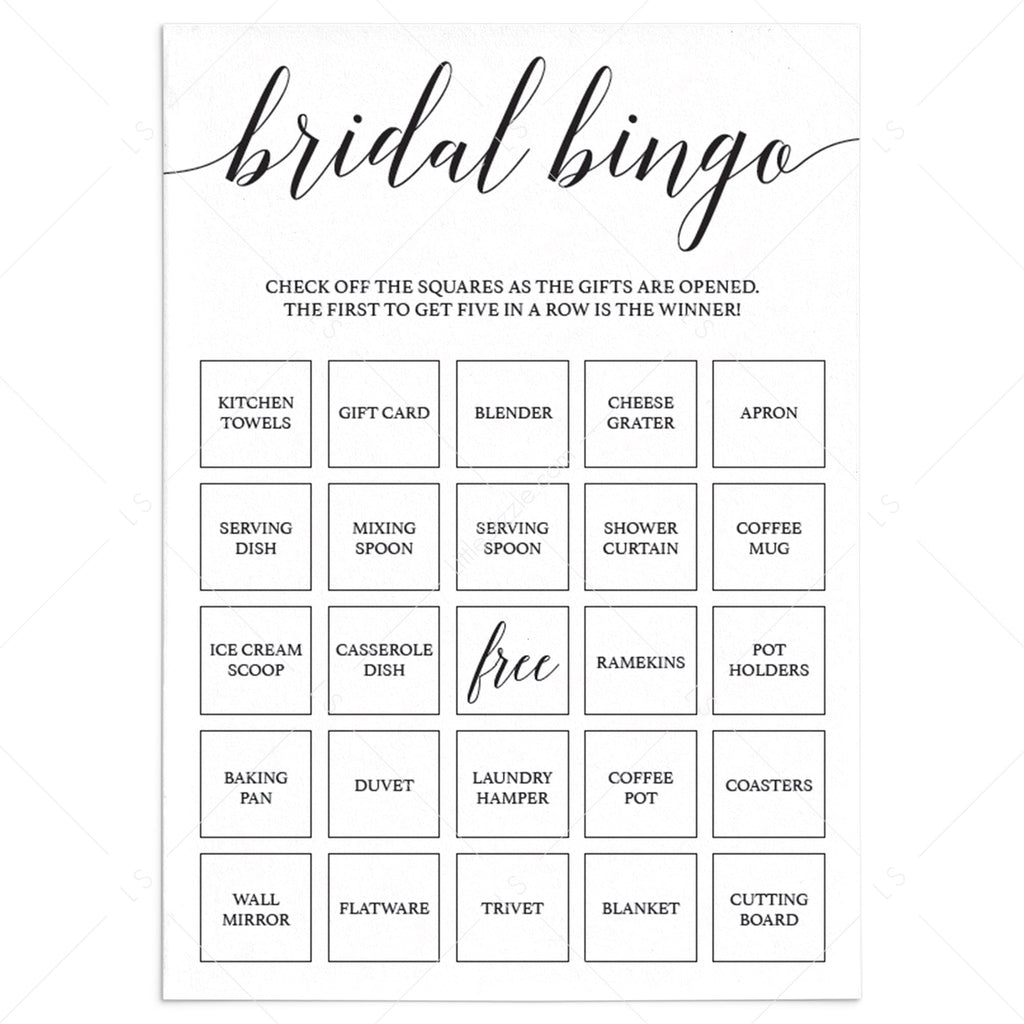 Bridal bingo cards prefilled by LittleSizzle