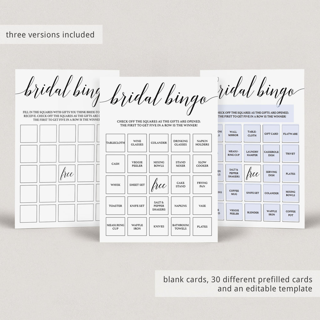 Bridal bingo cards blank and prefilled by LittleSizzle