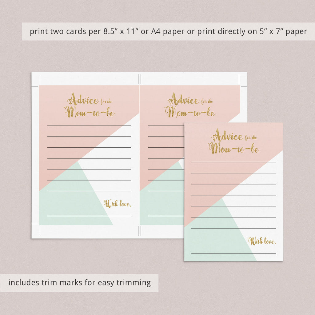 Advice for the Mom To Be Baby Shower Printable