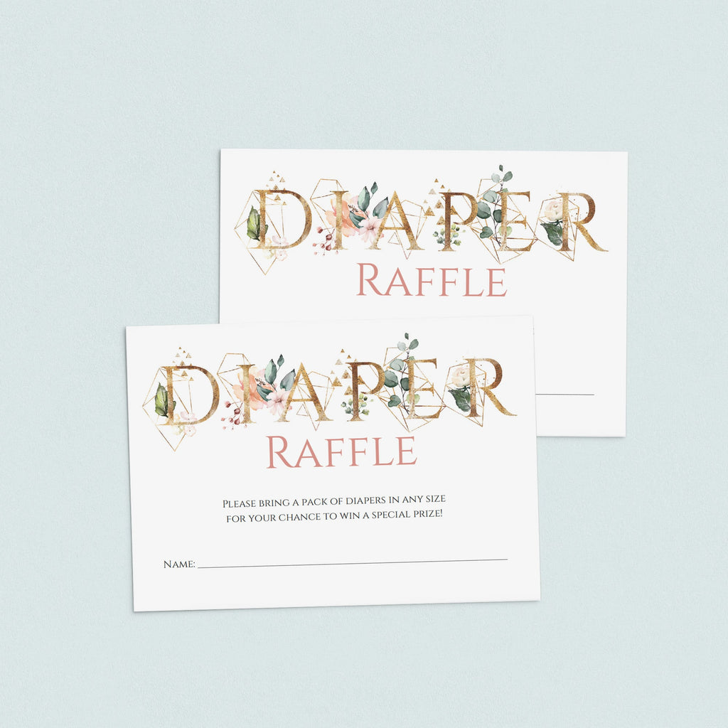 Gold Greenery Baby Shower Games Diaper Raffle Tickets