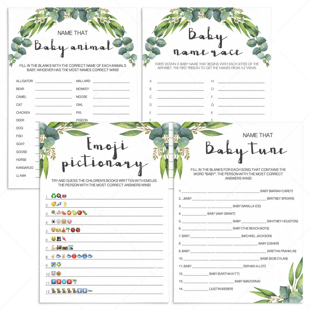 Green eucalyptus printable baby shower games by LittleSizzle