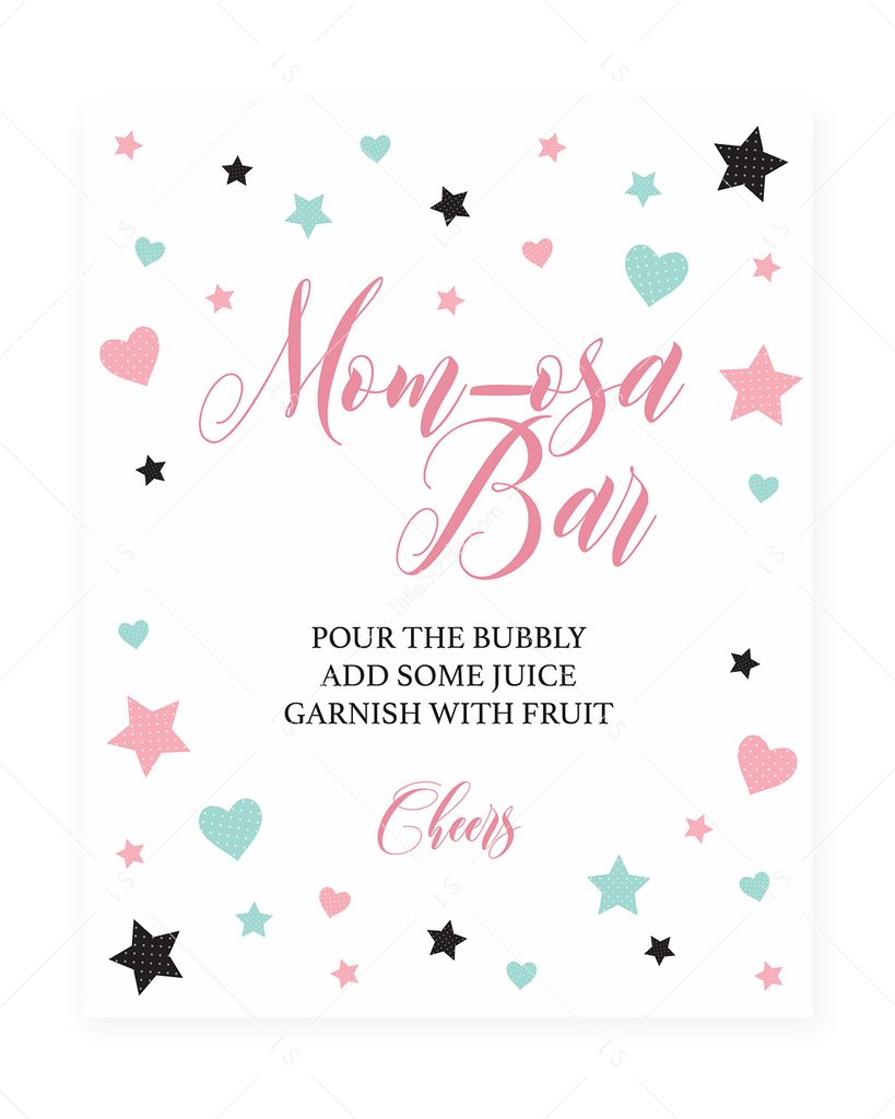 Pink Mom-osa Bar printable for girl baby shower by LittleSizzle