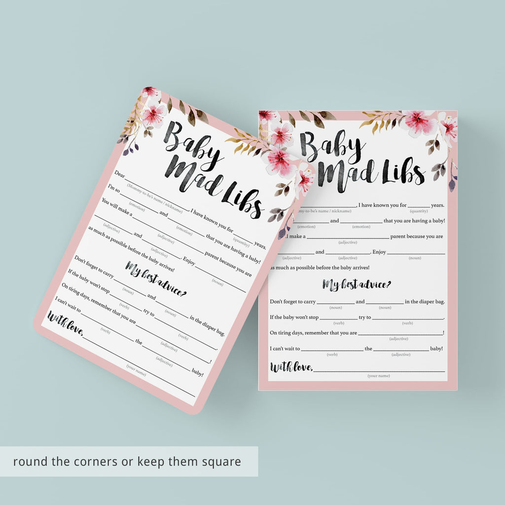 Baby madlibs shower game printable pink flowers by LittleSizzle