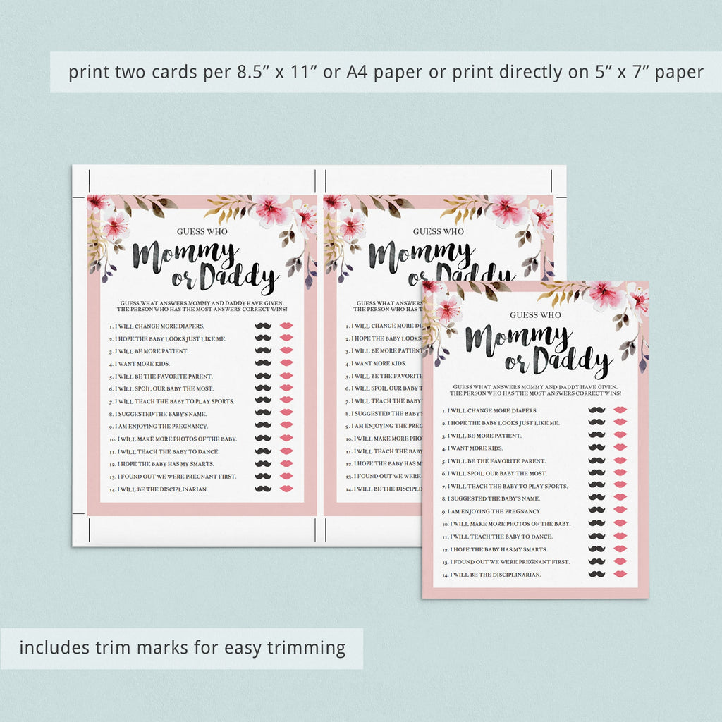 Mommy or daddy quiz for floral theme baby shower by LittleSizzle