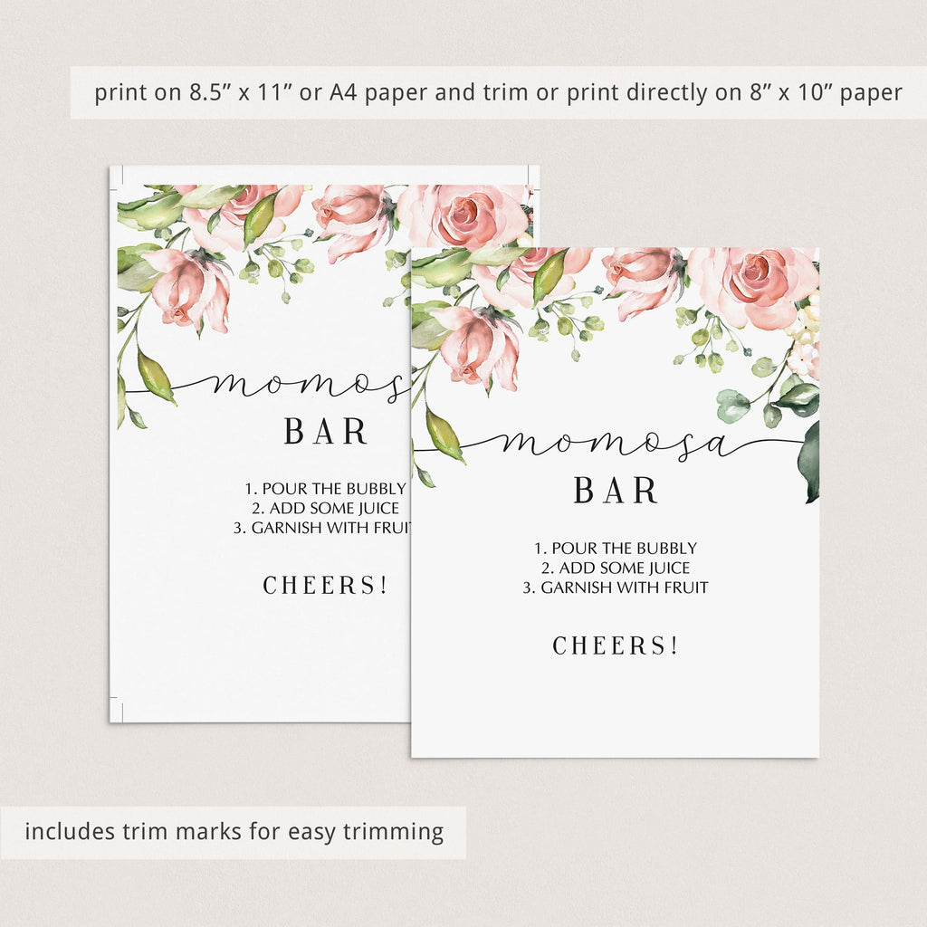 Printable momosa bar table sign with blush flowers by LittleSizzle