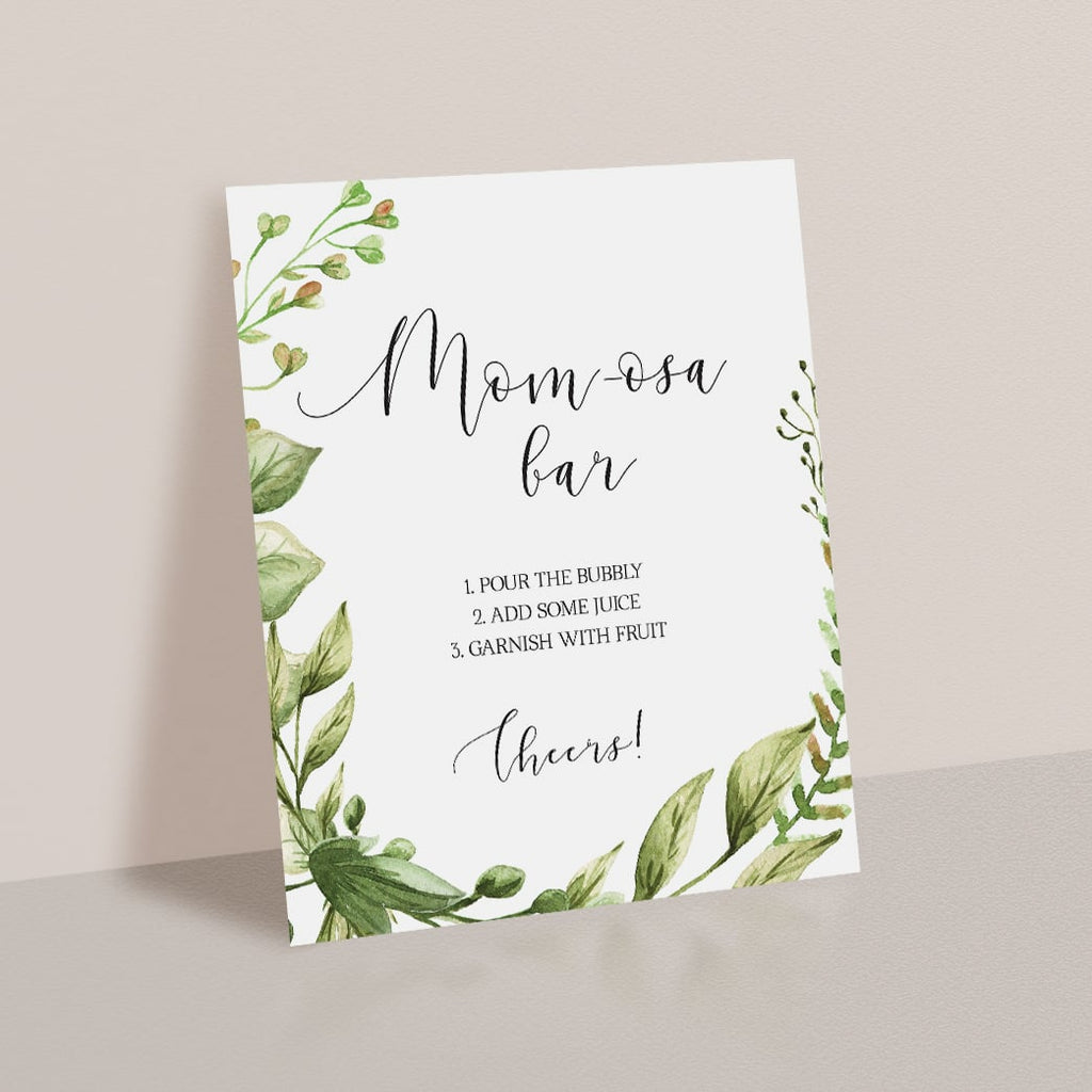 Baby Shower Momosa Bar Sign Printable Greenery