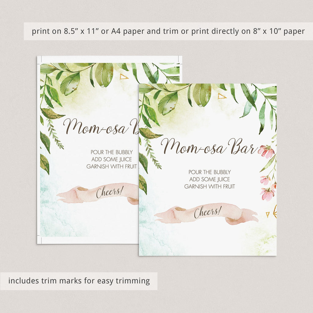 Momosa bar table sign for baby brunch greenery theme by LittleSizzle