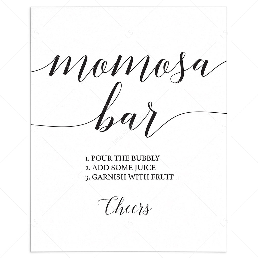 Simple momosa bar sign printable by LittleSizzle