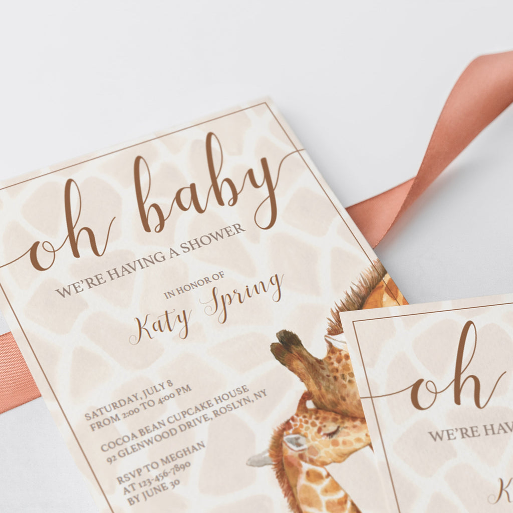 watercolor giraffe baby shower invite PDF template by LittleSizzle
