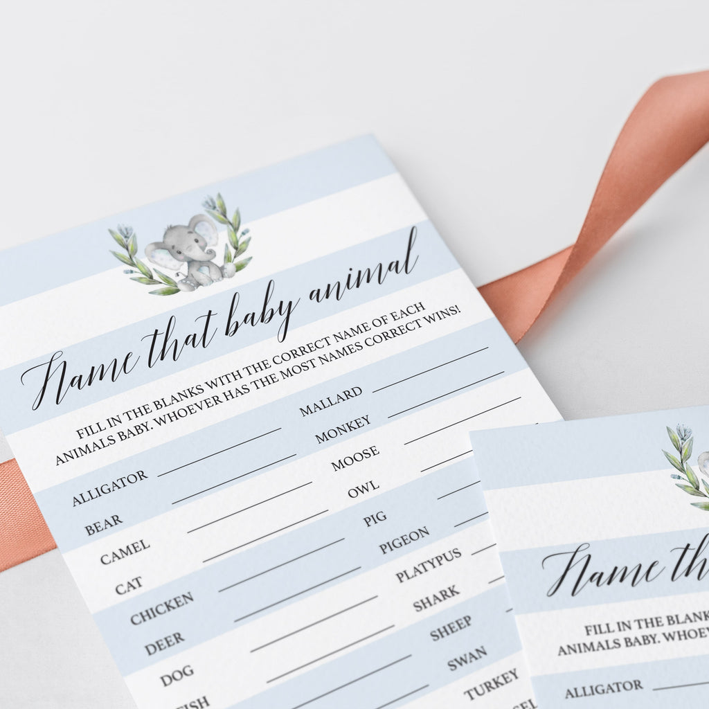 Elephant Baby Shower Games Name That Baby Animal Printable