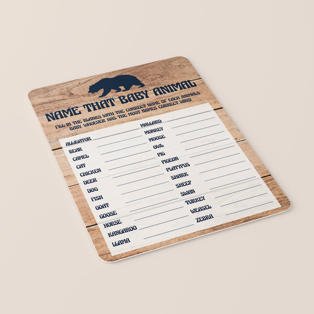 Woodland Animals Name Game for Baby Shower Printable